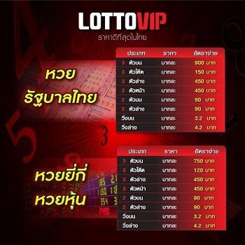 ตารางจ่ายหวย, อัตราการจ่าย lotto vip
